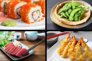 quatro tipos de comidas japonesas
