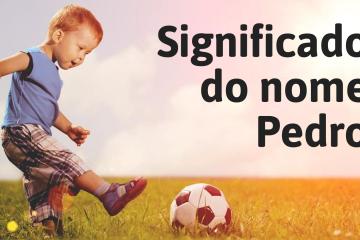 foto escrita significado do nome pedro com um menino jogando bola