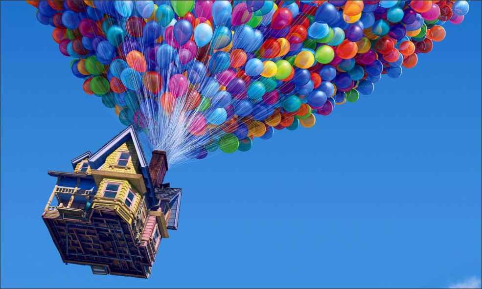 casa voando com balões no filme UP - Altas aventuras