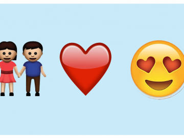 emojis de casal, coração e emoji apaixonado