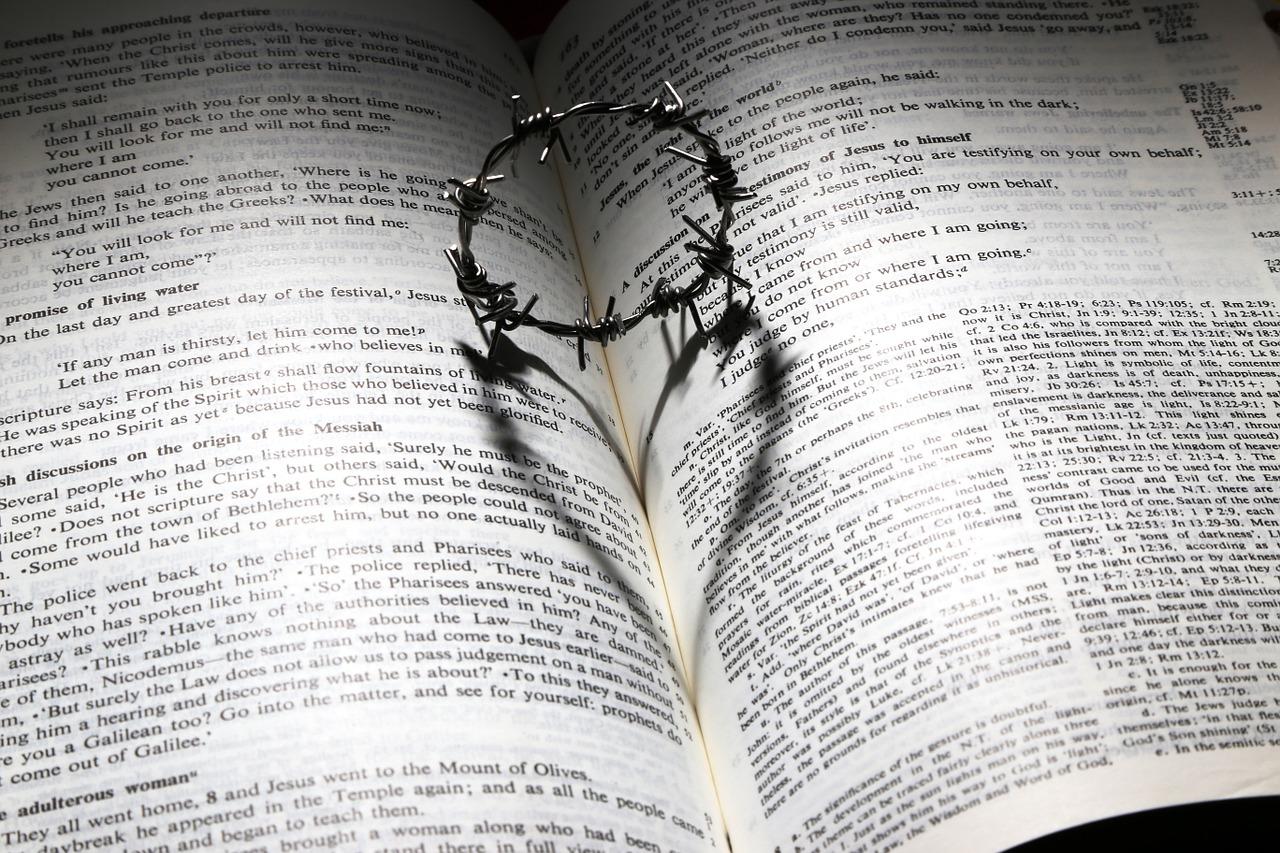bíblia e coroa de Jesus