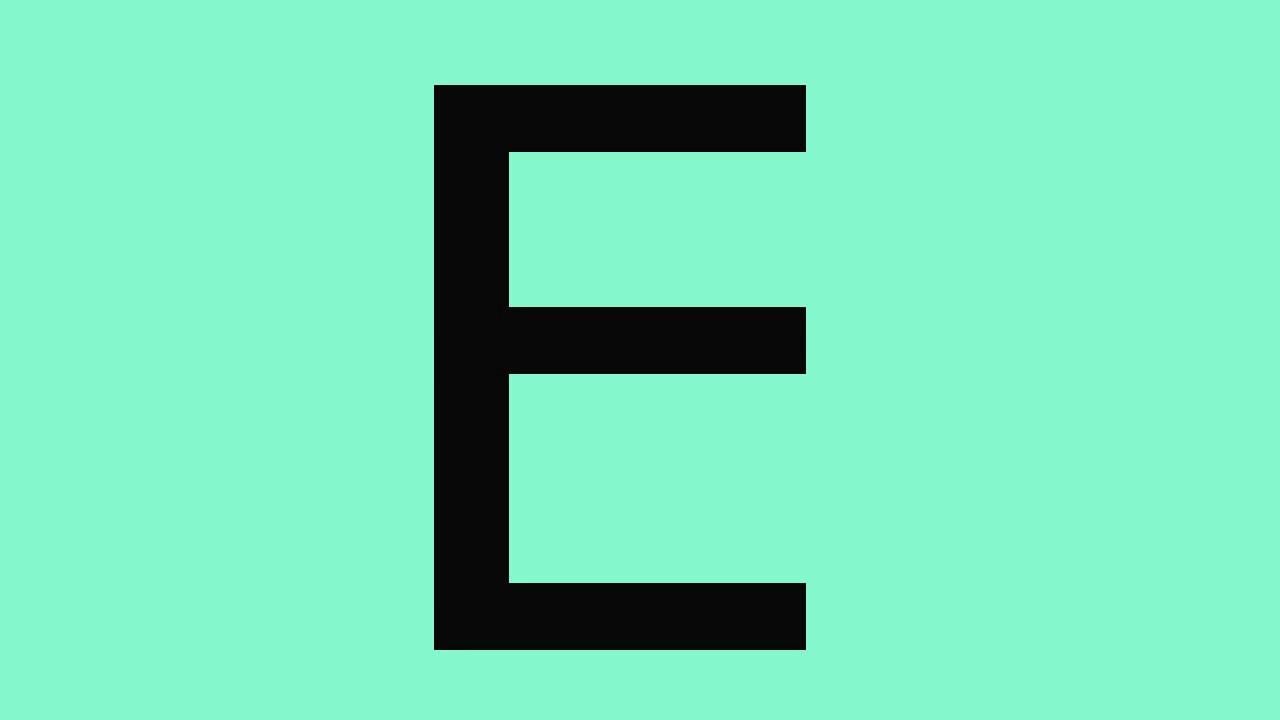 letra E preto com o fundo verde