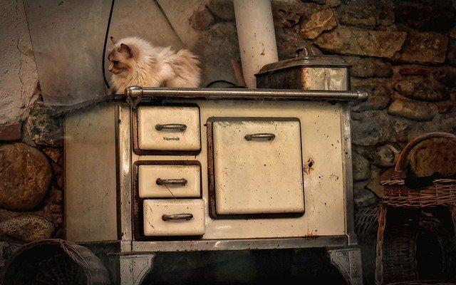 gato deitado em cima do forno a lenha para aquecer