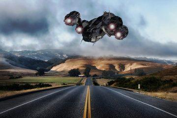 nave alienígena sobrevoandoas cidades