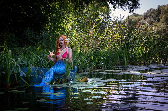 sereia sentada na pedra dentro do rio