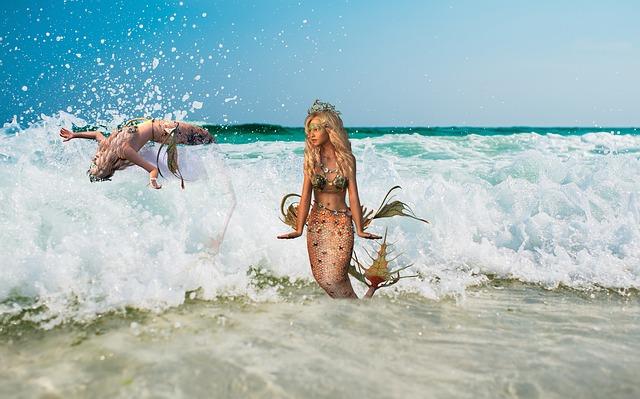 duas sereias dentro da água